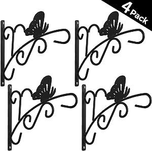 4 Pack Hanging Plants Bracket 11'' Wall Planter Hook Flower Pot Bird Feeder Wind Chime Lanterns Hanger Patio Lawn Garden for Shelf Shelves Fence Screw Mount Against Door Arm Hardware