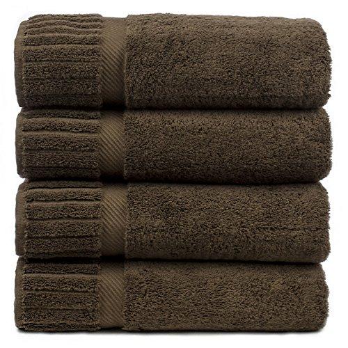 Luxury Hotel & Spa Towel Turkish Cotton Bath Towels - Cocoa - Piano - Set of 4