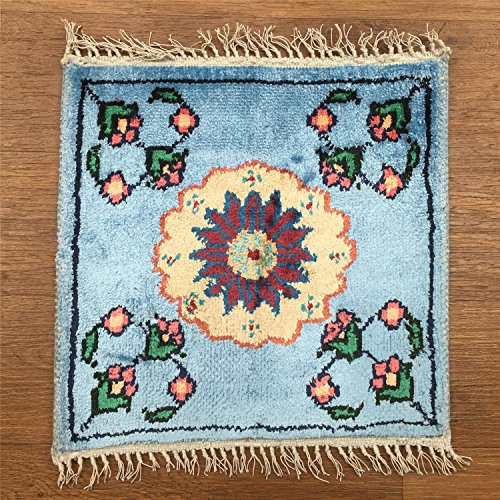 YILONG CARPET 1' x 1' Small Square Handmade Silk Carpet Qum Persian Turkish Rug Oriental Rug (Blue) 1 Feet by 1 Feet Qum Silk Rugs