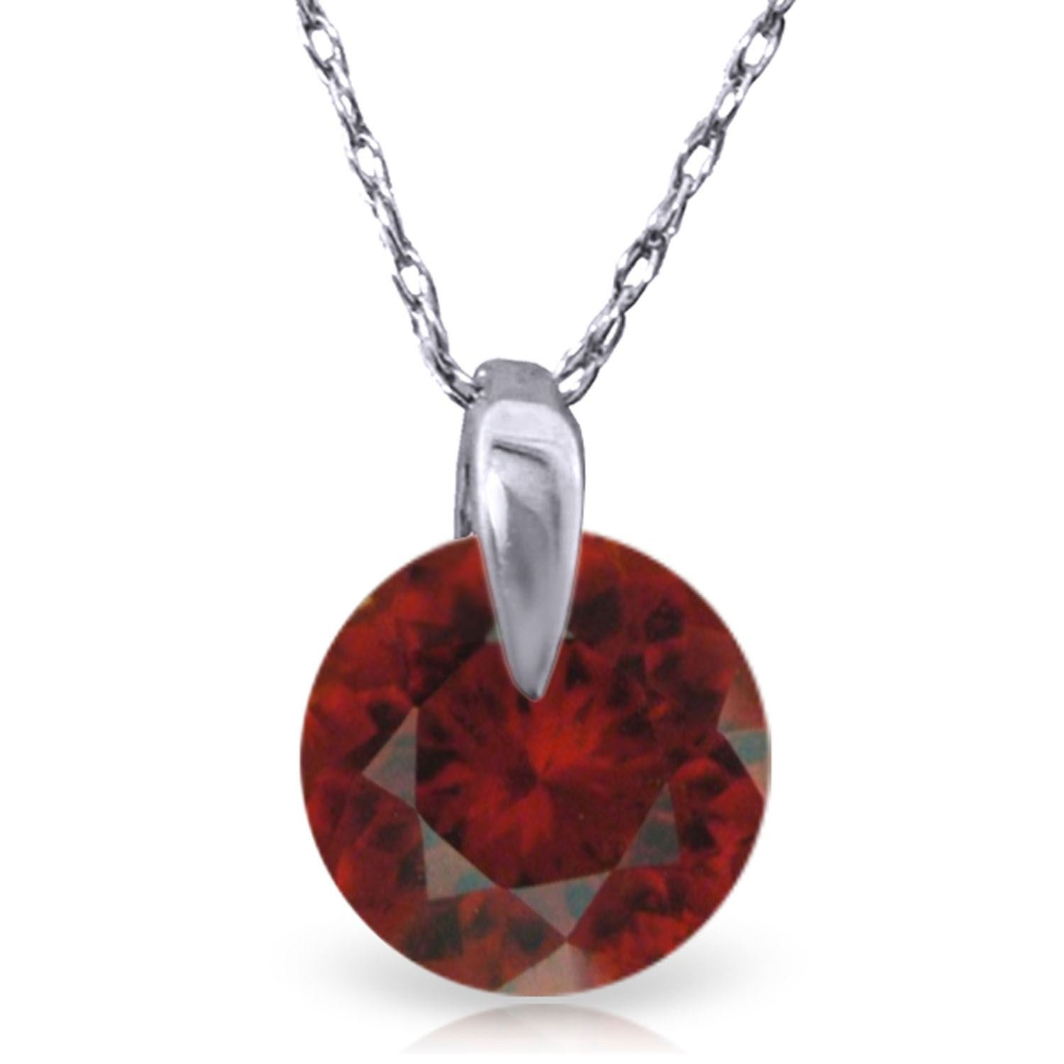 ALARRI 1 Carat 14K Solid White Gold Don't Rush Love Garnet Necklace with 20 Inch Chain Length
