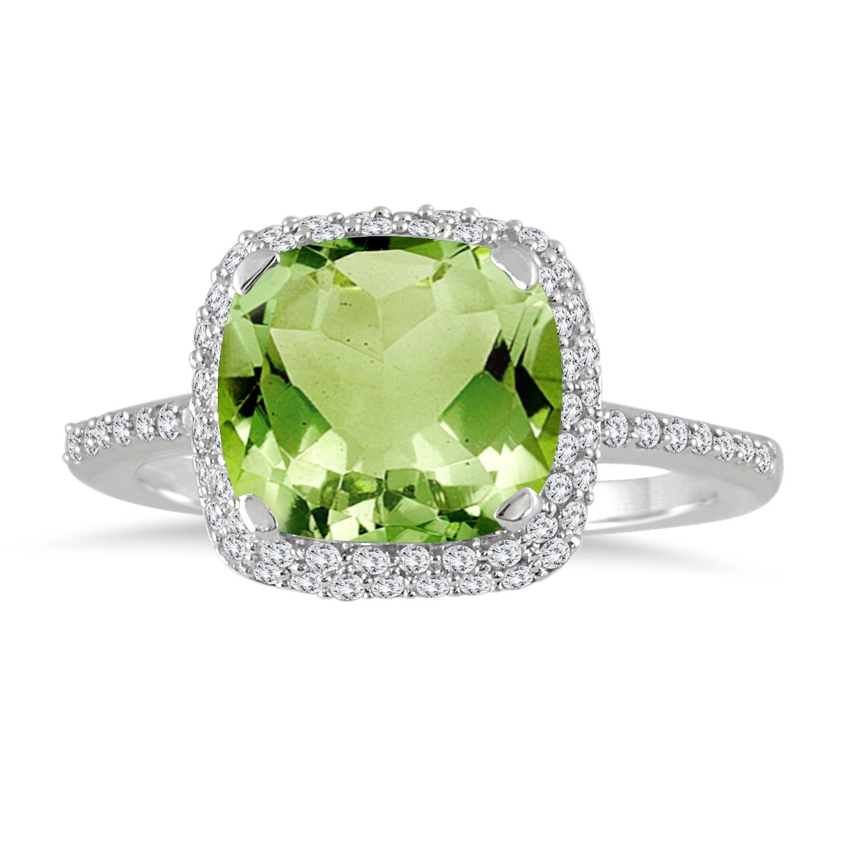 Cushion Cut Peridot and Diamond Halo Ring in 10K White Gold by Szul