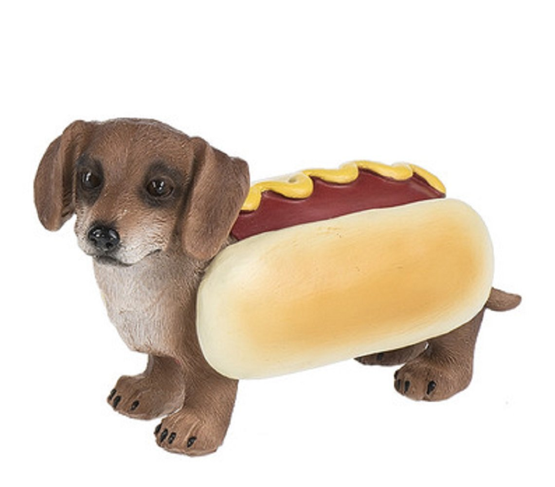 Costume Canine Dog Halloween Polystone 5 Inch Tabletop Figurine, Dachshund Hot Dog