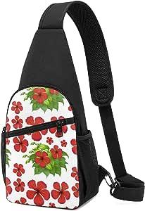 PGTry Fondo sin costuras con flores de hibisco rojas, mochila ligera para el hombro, mochila para el pecho, bolsa cruzada, bolsas de viaje, senderismo, para hombres y mujeres