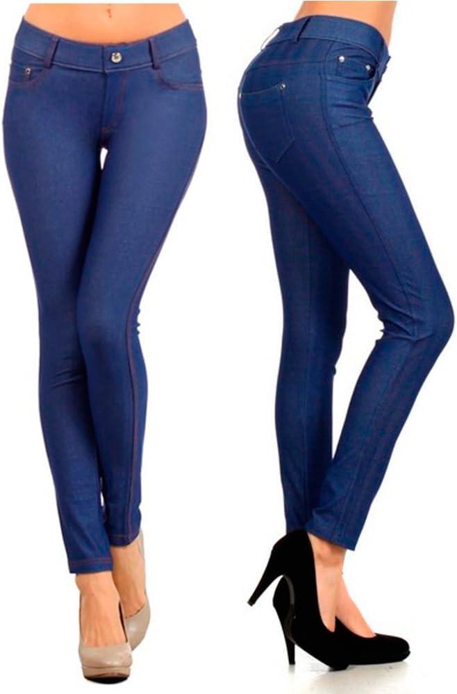 High Waist Leggings Womens Faux Jean Denim Jegging Pencil Stretch Leggings Slim