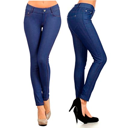 4dc80d8158 Amazon.com: Womens Blue Jeggings Jeans Look Skinny Stretch Sexy Soft ...