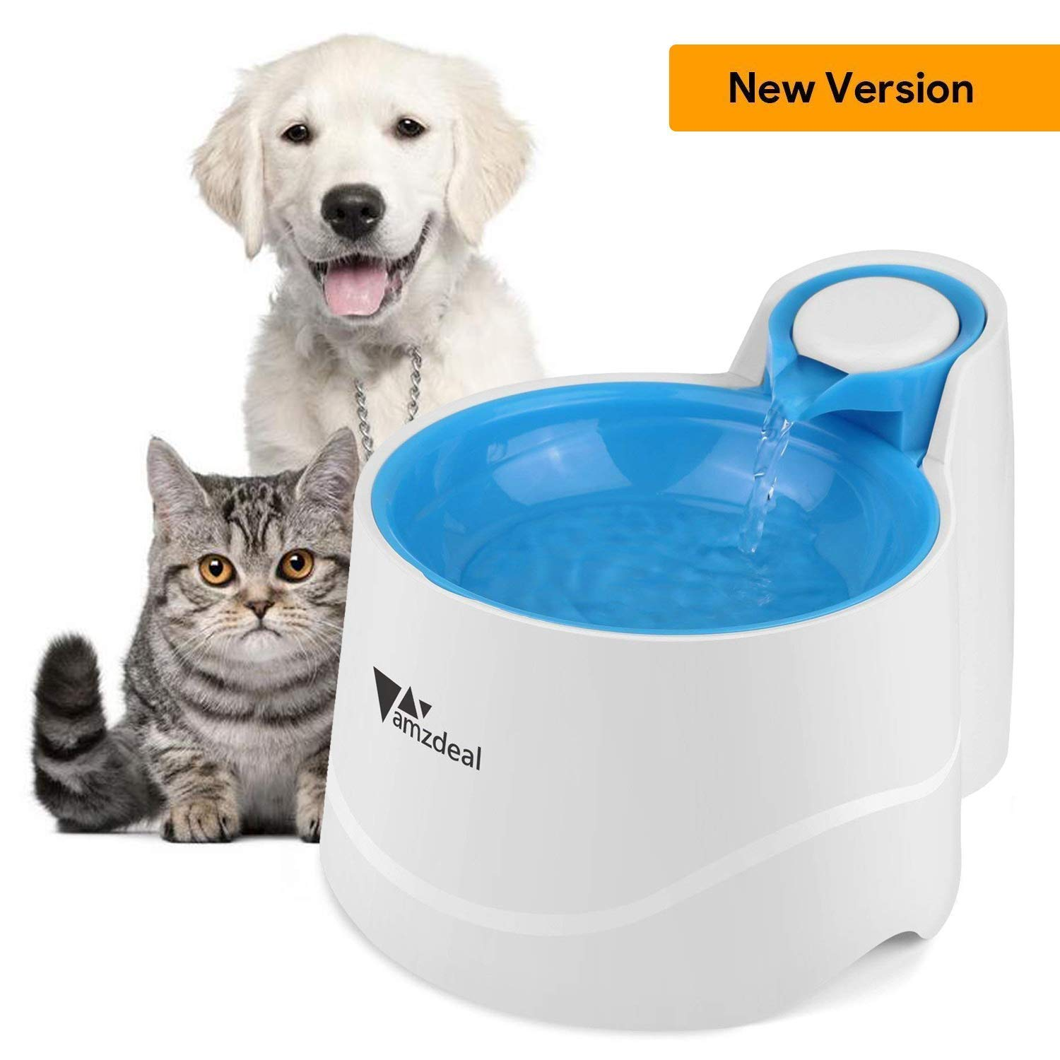 amzdeal Cat Water Fountain Pet Fountain Automatic Water Bowl Pet Water Dispenser with LED Light and Water Filters, Low Noise, 2 Liter/70 Ounces Blue