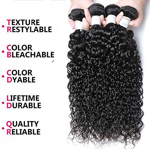 Perstar 8A Grade Uprocessed Brazilian Water Wave virgin hair 4 Bundles Remy Human Hair Natural Color (14 16 18 20, Natural Color) …