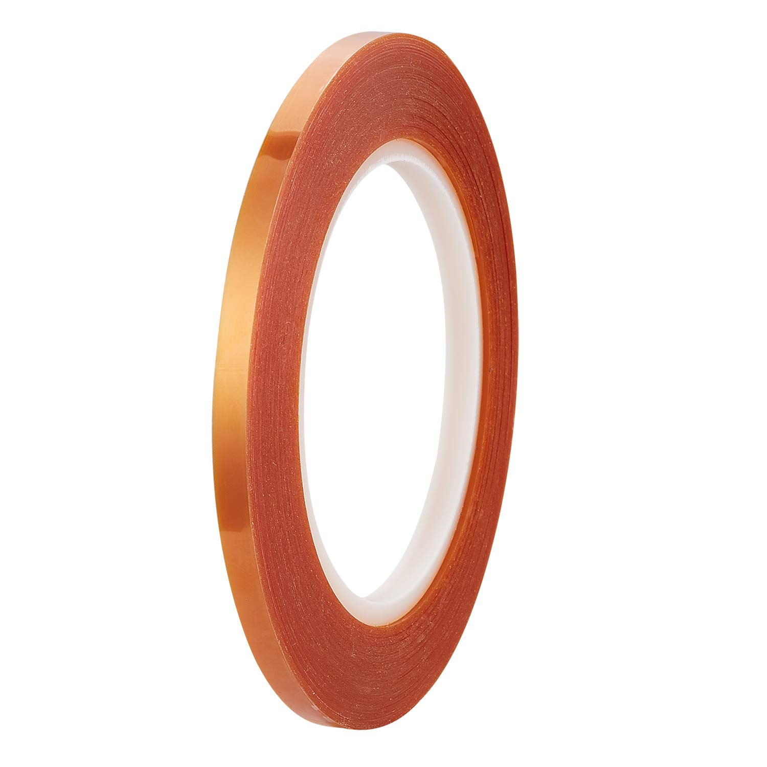 High Temp Tape, Double Sided Silicone Adhesive Tape, Double Sided Polyimide Tape for 3D Printing,Electric Task,Soldering, Insulating Circuit Boards, 1/4' Wide x 36 Yards Long 1 Mil Thick on a 3' Core
