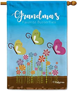 KafePross Grandma's Favorite Butterflies Decorative House Flag Grandma's Garden Flowers Put Your Personalzied Grandkid's Name Decor Banner for Outside 28x40 Inch Double Sided