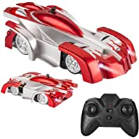 Electric Wall Climber Climbing RC Car, Remote Control Car, Dual Mode 360°Rotating Stunt Car with Remote Control, Head and Rear LED Lights, USB Cable, Boy Kid Toys, Zero Gravity Car for Kids(Red)
