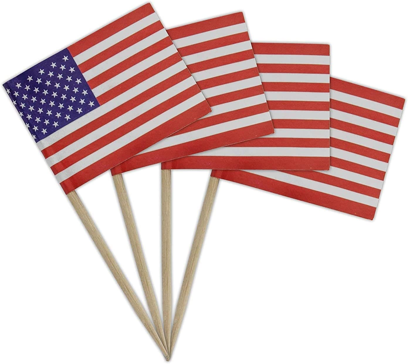 Ram-Pro Pack of 200 Decorative American Flag Wood Picks - USA Flag Picks, Mini American Stick Flag Food Toothpicks for Flag Day - Party Decorations Hand Held Mini Flag Decorative Wood Picks
