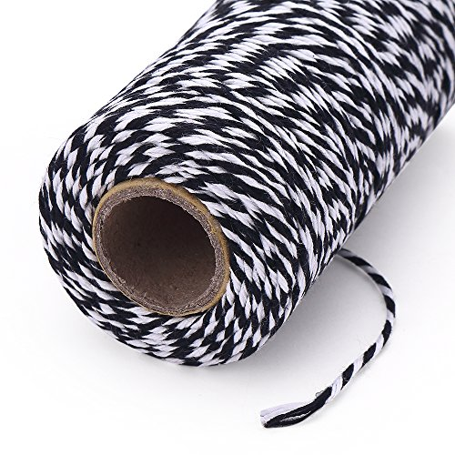 KINGLAKE 328 Feet Bakers Twine,Cotton Crafts Twine,Heavy Duty Christmas Holiday Twine,Great Packing Twine Black and White String