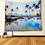 oFloral House Decor Tapestry Wall Hanging by, Aerial View of A Pool in A Health Resort Spa Hotel with Exotic Elements Sports Modern Photo, Bedroom Living Room Dorm Decor, 60Wx80L Inches, Multi
