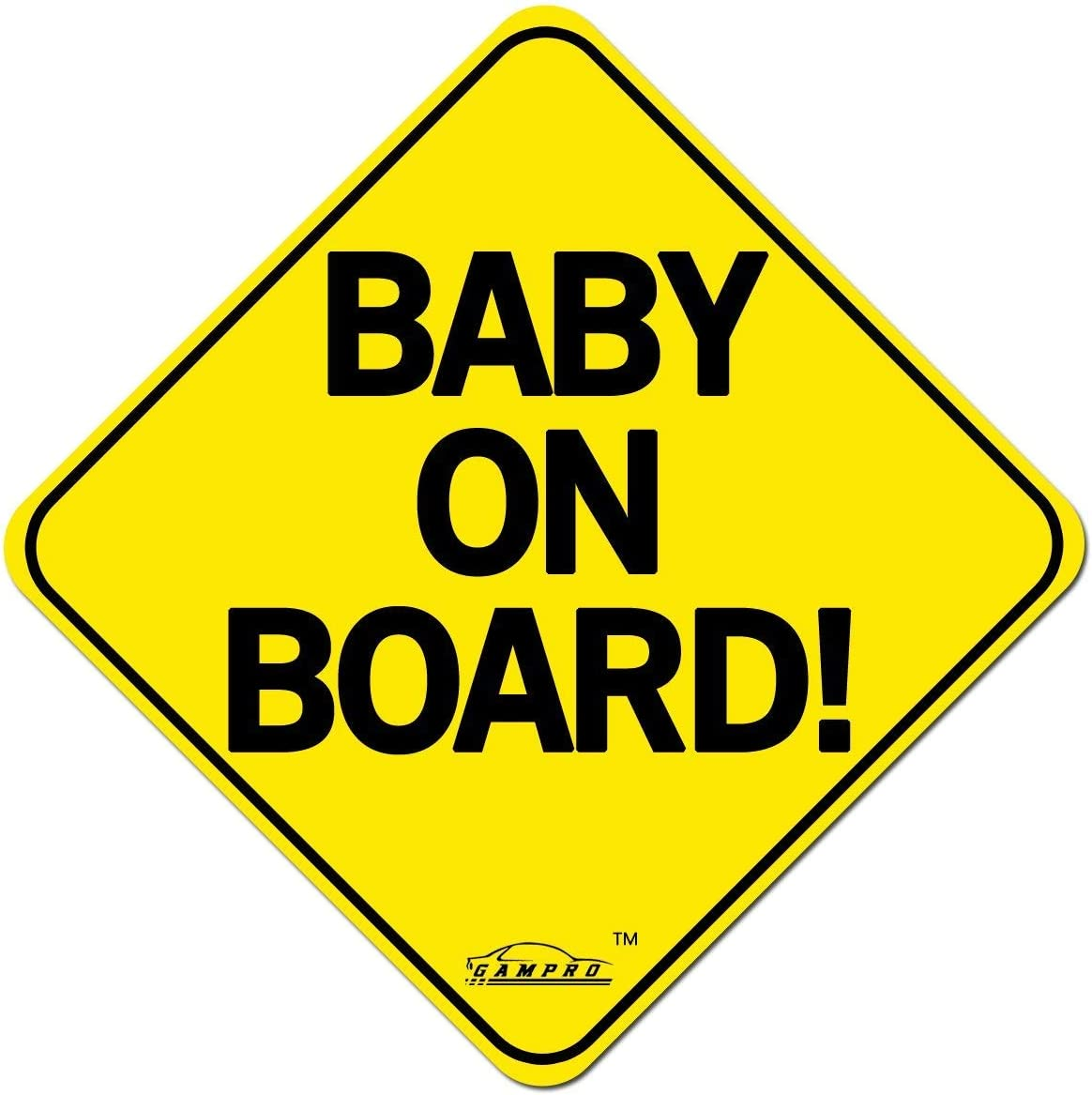 Reduce Road Rage and Accidents for New Parent and Child Reflective Vehicle Car Sign Sticker Bumper for New Parents GAMPRO Set of 2 Lovely Baby ON Board Reflective Vehicle Bumper Magnet 2 Pack