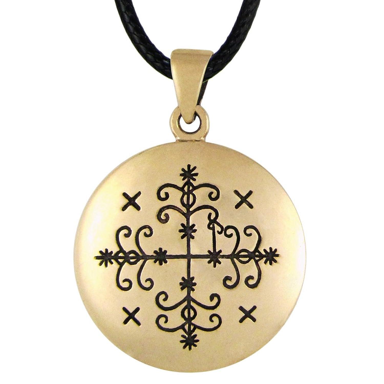 Amazon Bronze Papa Legba Voodoo Loa Veve Pendant Necklace 1