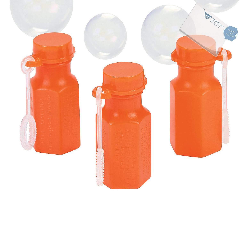Bargain World Plastic Hexagon Orange Bubble Bottles (With Sticky Notes)