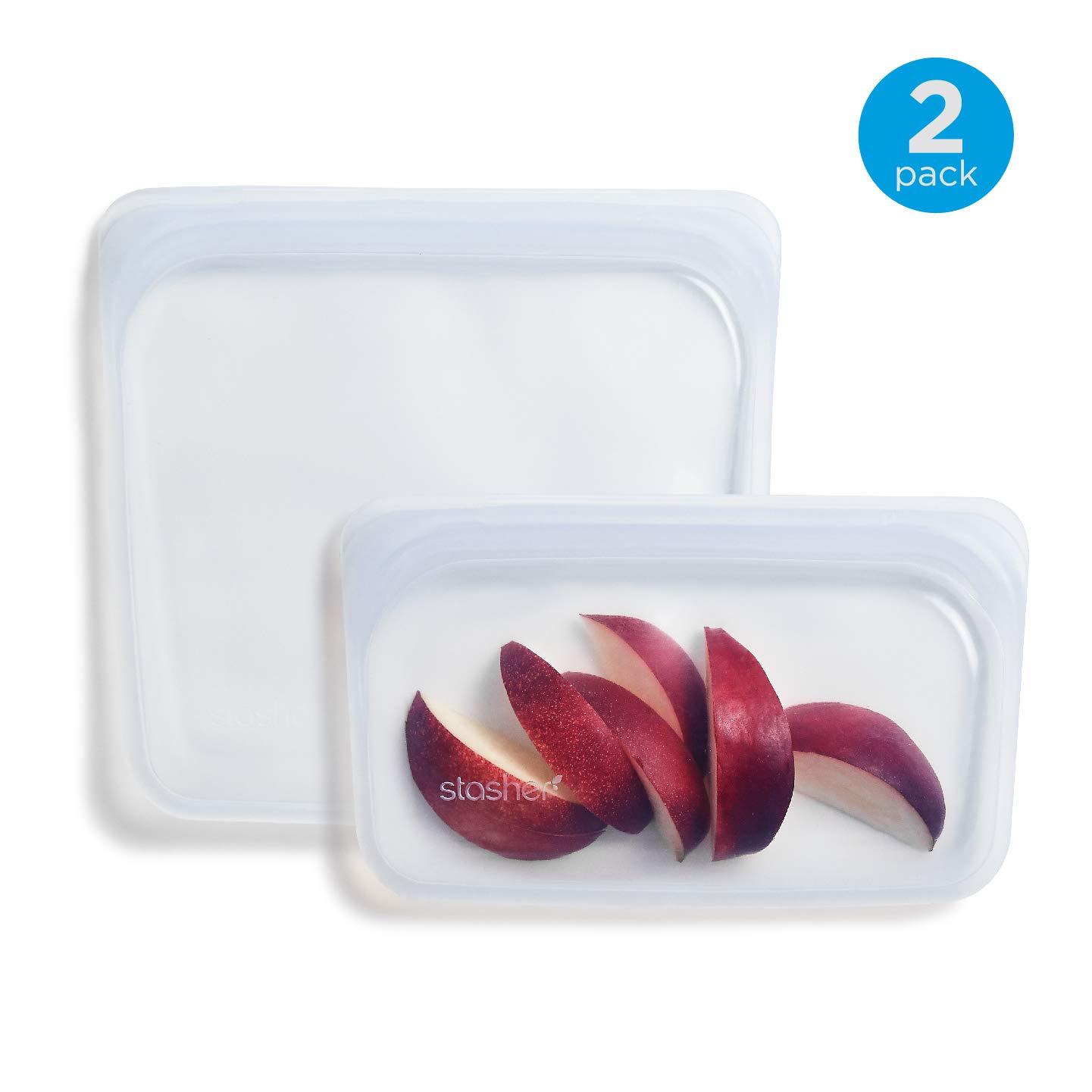 Stasher Reusable Silicone Food Bag, Sandwich Bag and Snack Bag, Storage Bag, Clear