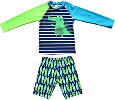 UV Surfing Beach Swimwear ACHIYI Baby Boys Kids 2Pcs Long Sleeve Dinosaur Swimsuit Rash Guard Bathing Suit UPF 50