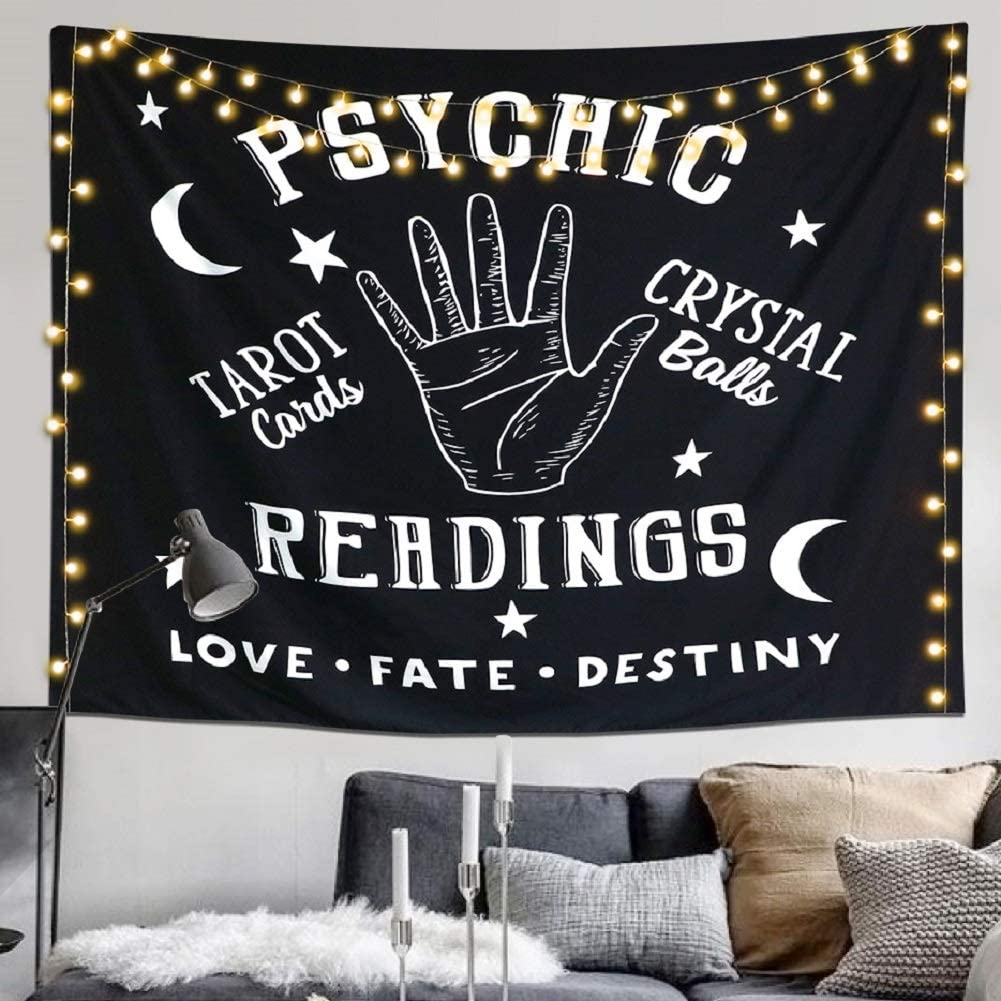 "Alynsehom Tapestry Moon and Star Psychic Readings Black Mandala Wall Hanging Hand Bohemian Wall Blanket Bedroom Living Room Home Decors (58""x79"", Psychic Reading)"