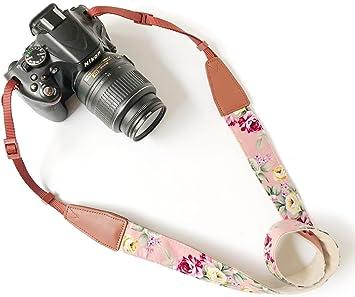 Leather Black Print Pink Flower Camera Neck Shoulder Belt Strap,Alled Leather Vintage Print Soft Camera Straps for Women//Men for DSLR//SLR//Nikon//Canon//Sony//Olympus//Samsung//Pentax