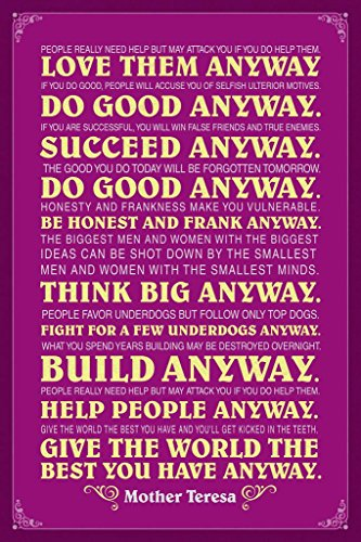 Mother Teresa Anyway Purple Quote Poster 24x36 inch ()