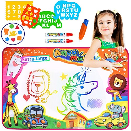 Aitey Aqua Magic Mat, Water Drawing Mat for Toddlers Painting Board with Magic Color Pen, EVA Drawing and Plastic Molds Kids Educational Toys Gift for sale