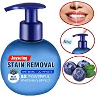 Whitening Toothpaste Intensive Stain Removal Press Type Teeth Whitener - Eliminates Bad Breath - Remove Coffee & Tea Stains - Oral Tooth Care - 220g Fruit Flavor