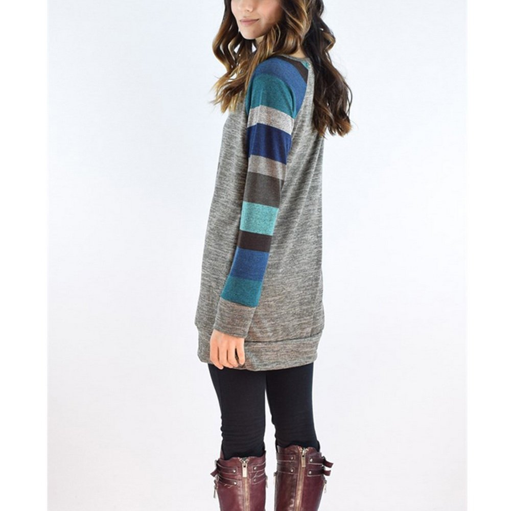 Wenyujh Damen Kleid Herbst Langarm Kleid Pullover Lang Sweatshirt Jumper  Kleid Patch Design mit Streifen  Amazon.de  Bekleidung a8a5784035