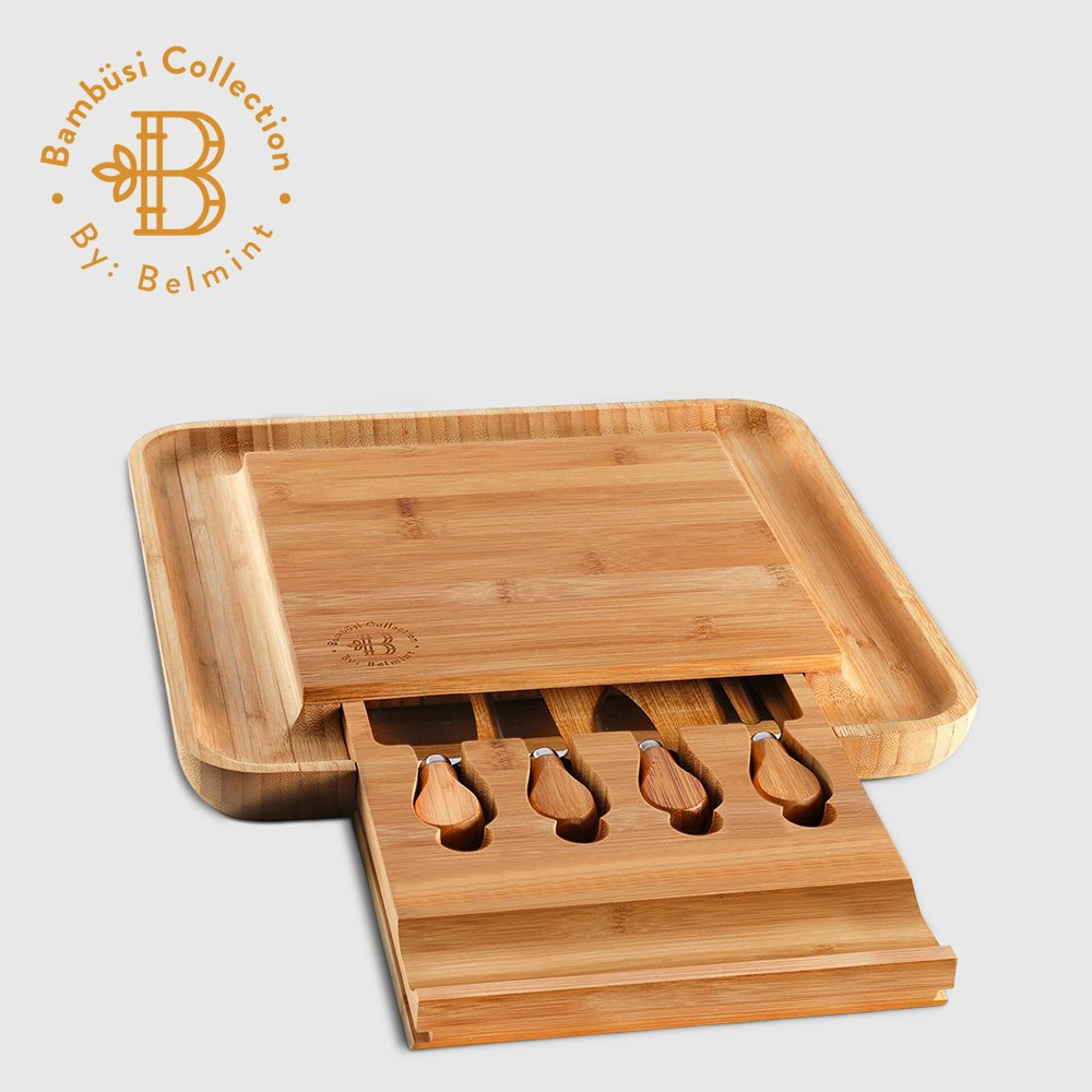 Bamboo Cheese Board with Cutlery Set, Wood Charcuterie Platter and Serving Meat Board with Slide-Out Drawer with 4 Stainless Steel Knife and Server Set - Perfect Gift Idea. By Bambusi by Bambüsi (Image #2)