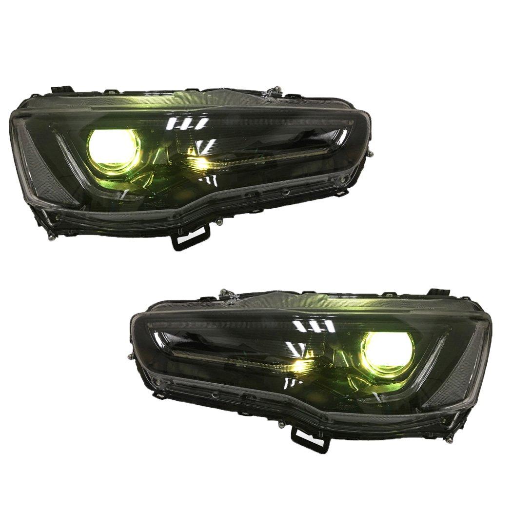 Amazon.com: Vland RGB LED Demon eye Headlights For MITSUBISHI LANCER / EVO X 2008-2017 DUAL BEAM Audi Style Full Black Housing with H7 2in1 LED Headlight ...