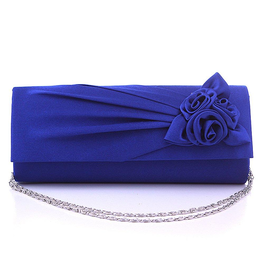 Women Rose Pleated Satin Wedding Evening Bridal Clutch Purse With Rhinestones RoyalBlue