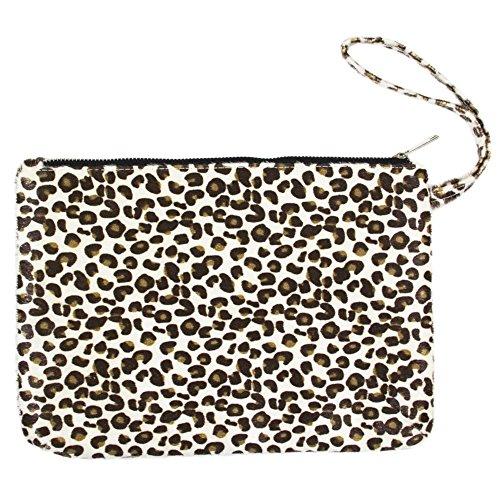 Me Plus Women's Clutch Pouch Wristlet Purse Bag Zipper Closure (2 Patterns) (Leopard-Ivory)