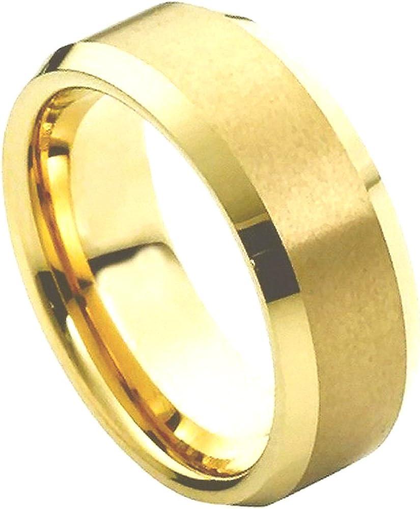 8mm Tungsten Gold Plated Checker Board Etch Beveled Edge Men/'s Wedding Ring