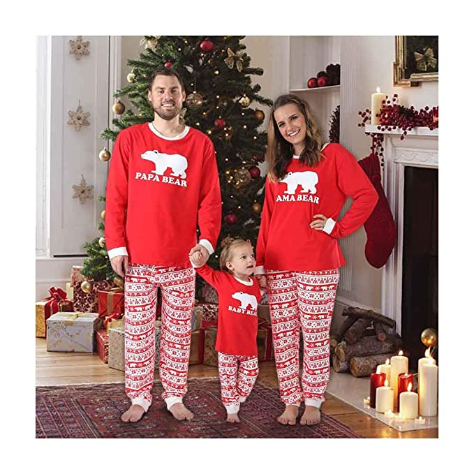 12d544dd42 Baywell Christmas Family Holiday Bear Warm Printed Pajama Family Clothes  Sets (Size L 5Y