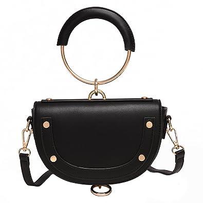 e58281b119 Rainie Love Unique Saddle Shape Design Ring Handle Summer Fashionable Womens  Small Handbag Cross Bag Shoulder Bag (Black Red White Green)  Handbags   Amazon. ...