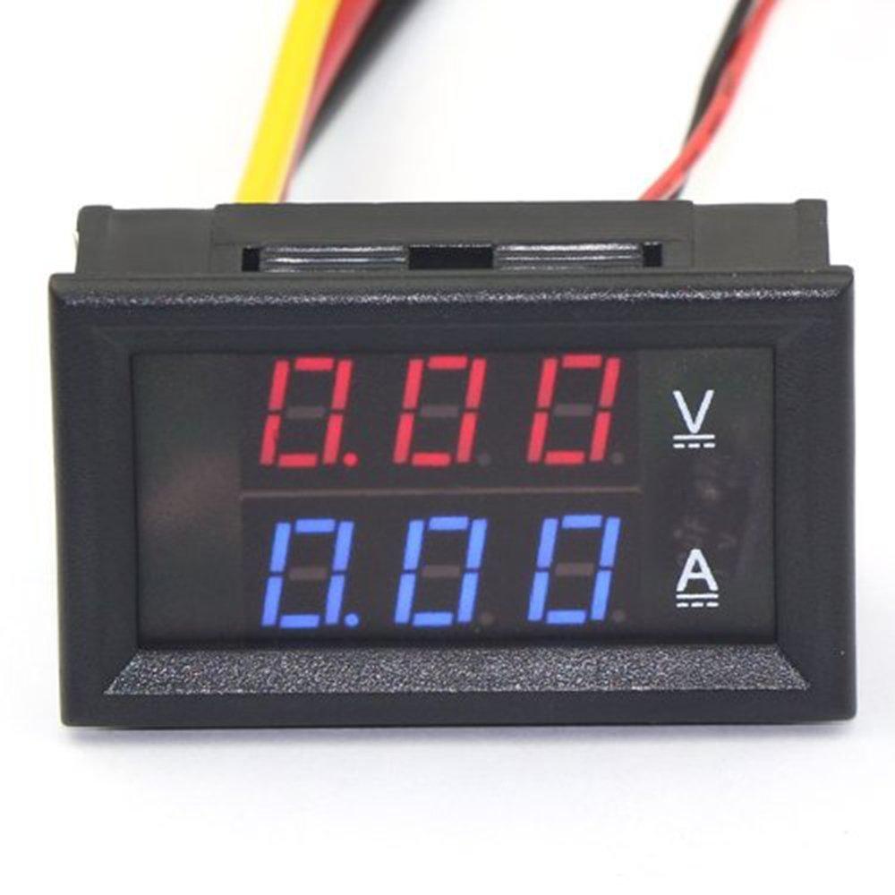 BenchTech BT-YB27VA DC Panel 0-100V Volt Ampere/Amp Meter 2in1 Red/Blue 2-color Display LED Voltmeter Car 12V 24V Built-in Shunt (Red-Blue 10A) by BenchTech