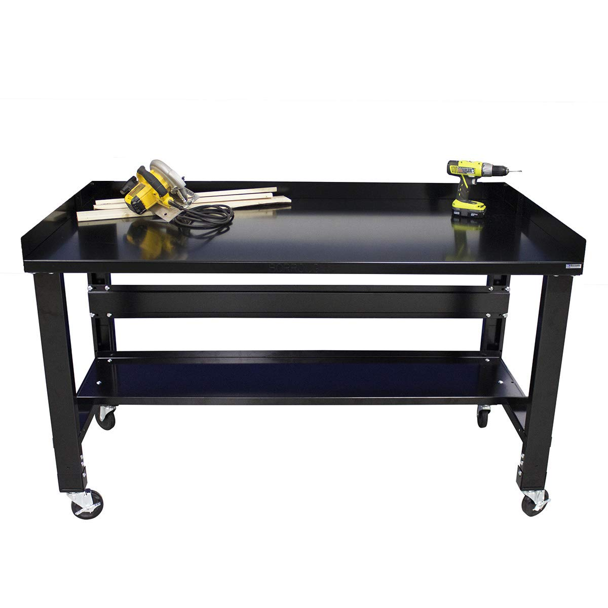 Borroughs Adjustable Height Black Painted Top Workbench with Casters, Back, and End Guards, 34 in x 60 in