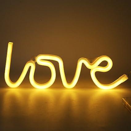 Amazon.com : SCASTOE LOVE Letters Shape LED Light Wall Hanging Neon ...