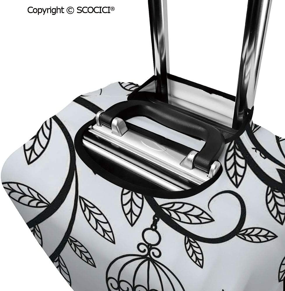 SCOCICI Luggage Cover Floral Theme Curvy Nested Elliptic Forms Conceptual Spring Garden Protective Travel Trunk Case Elastic Luggage Suitcase Protector Cover