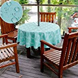 Do4U Round Umbrella Table Cover with Zipper Floral Tablecloth Waterproof Tablecloth for Patio with Parasol Hole Umbrella Hole (60' round, Turquoise)