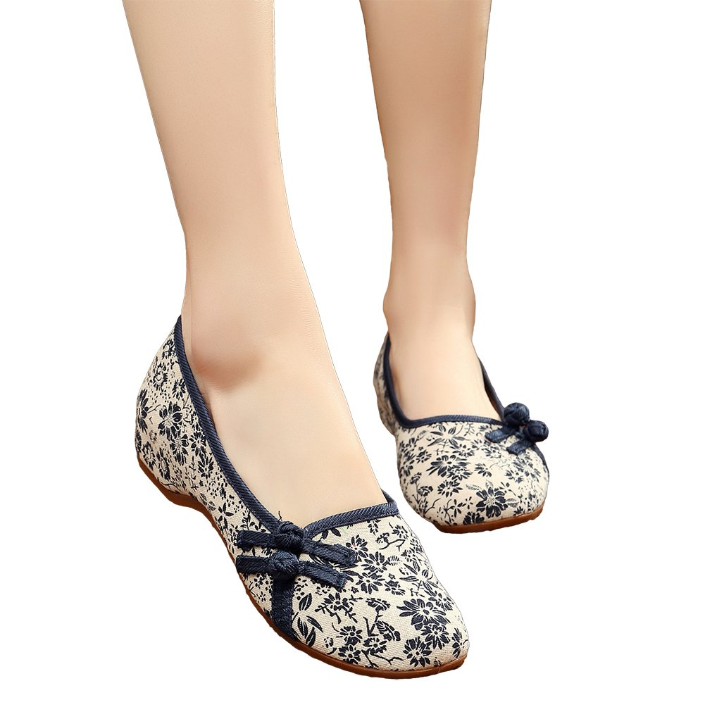 AvaCostume Womens Old Beijing Floral Pattern Flats Dancing Dress Shoes, Blue, 37