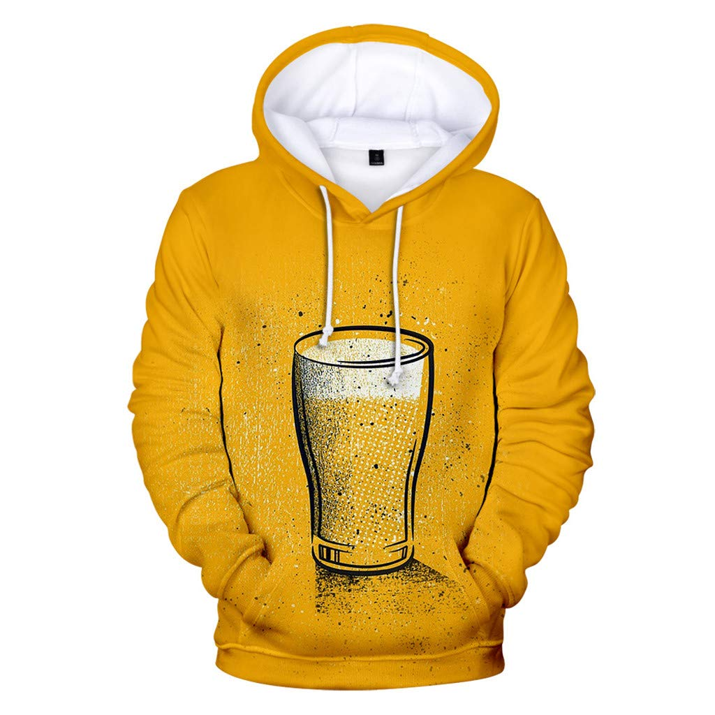FEDULK Plus Size Men's Sweatshirt, Beer Festival 3D Print Long Sleeve Hoodies Pocket Tops Pullover(Yellow, Large) by FEDULK