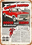 Wall-Color 9 x 12 METAL SIGN - 1972 Dodge and Fargo Adventurer Pickup - Vintage Look Reproduction