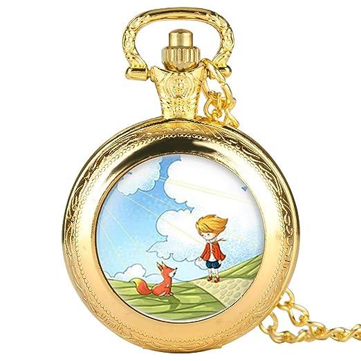 Reloj de Bolsillo Dorado para Hombre, diseño de Dibujos Animados, Reloj de Bolsillo para niño, Reloj de Bolsillo Digital árabe para Adolescentes: Amazon.es: ...