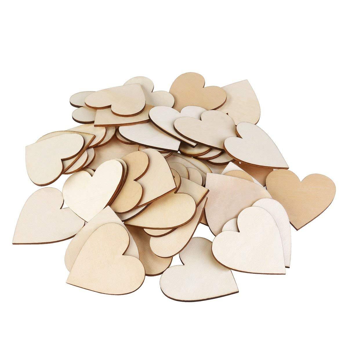 Queta cuori di legno 50PCS/2borsa, 6cm in legno da firmare Small Hearts for Crafts cuore legno fette dischi matrimonio ornamenti di Natale