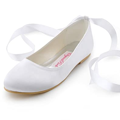 Elegantpark ep11105 womens round toe ribbon tie satin flats wedding elegantpark ep11105 womens round toe ribbon tie satin flats wedding bridal shoes white junglespirit Image collections
