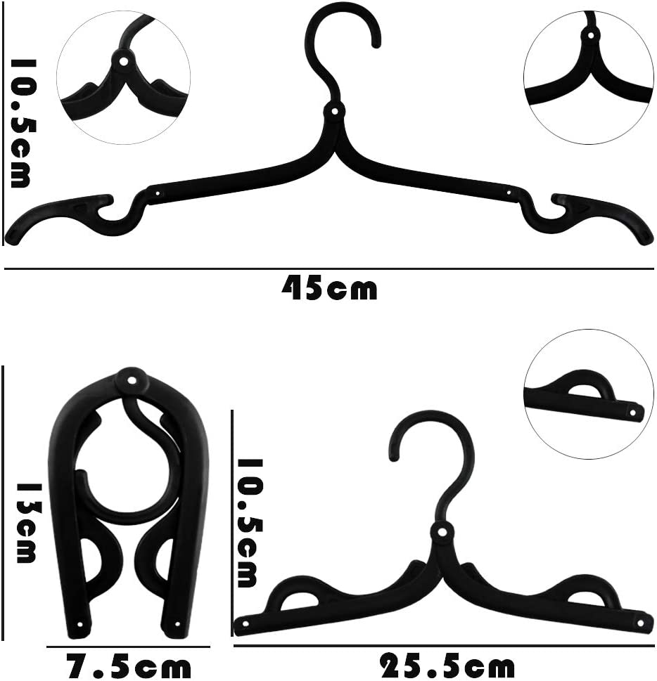 Hslife 20 Pcs Portable Black Folding Clothes Hangers Portable Folding Travel Hangers Foldable Clothes Drying Rack for Travel