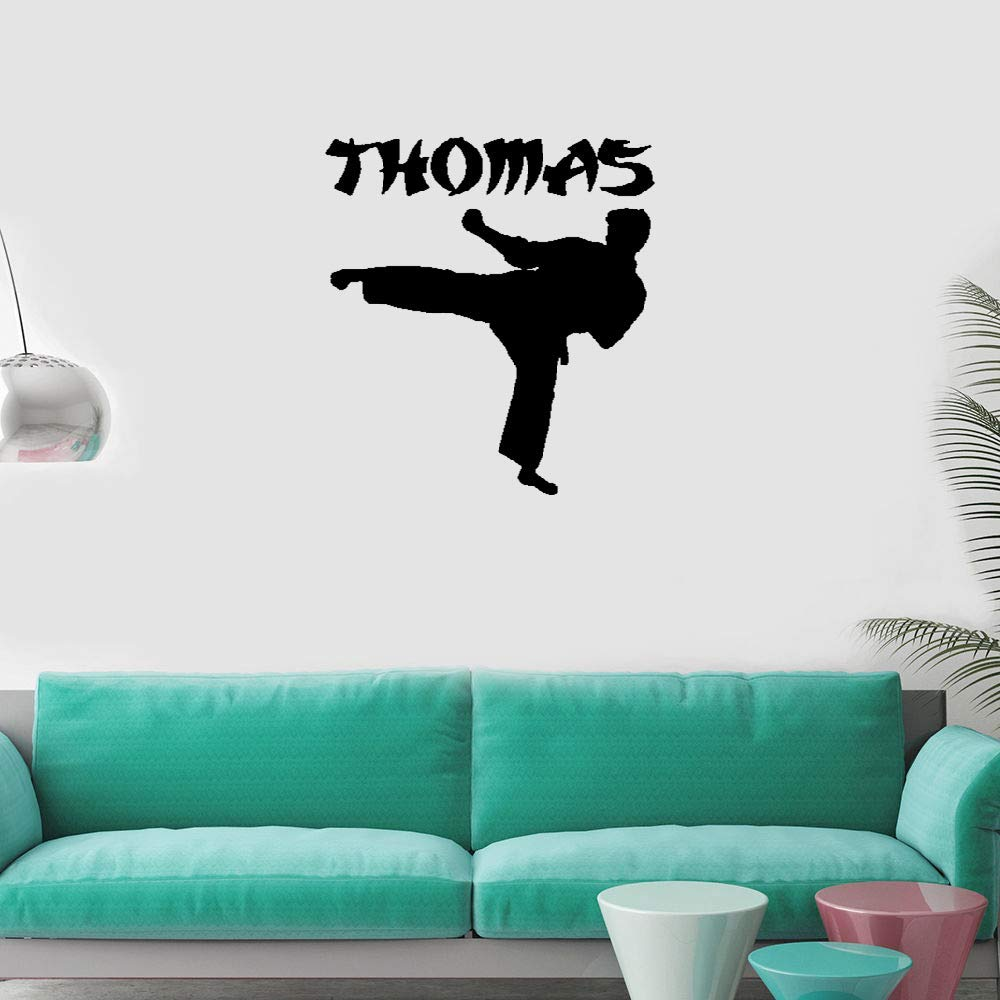 Liutaz Quotes Art Decals Vinyl Removable Wall Stickers Karate Kick with Personalized Name by Liutaz