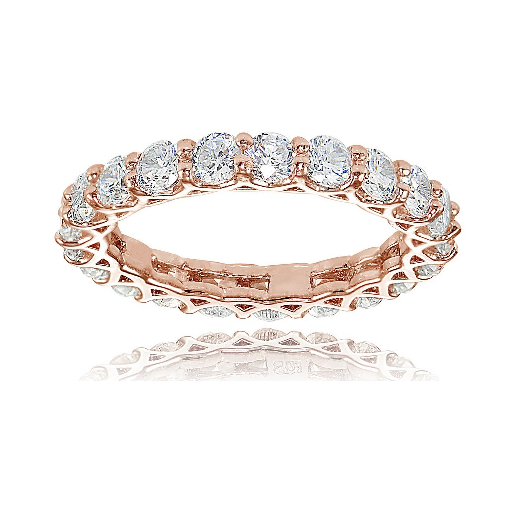 Rose Gold Flashed Sterling Silver Cubic Zirconia 3mm Round-cut Eternity Band Ring