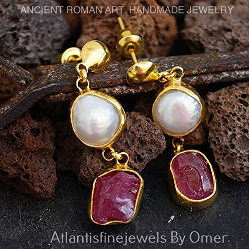 UNIQUE ROUGH RUBY &PEARL DESIGNER EARRINGS BY OMER 24K YELLOW GOLD OVER 925 SILVER TURKISH JEWELRY